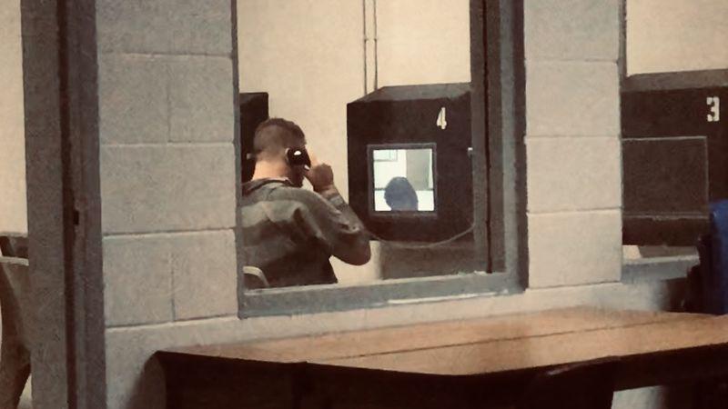 A McLennan County Jail inmate uses video visitation.
