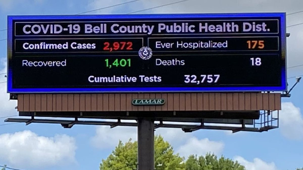 Electronic billboards have been strategically placed along local roadways to make a point about the prevalence of COVID-19 in Central Texas. (Photo by Megan Vanselow)