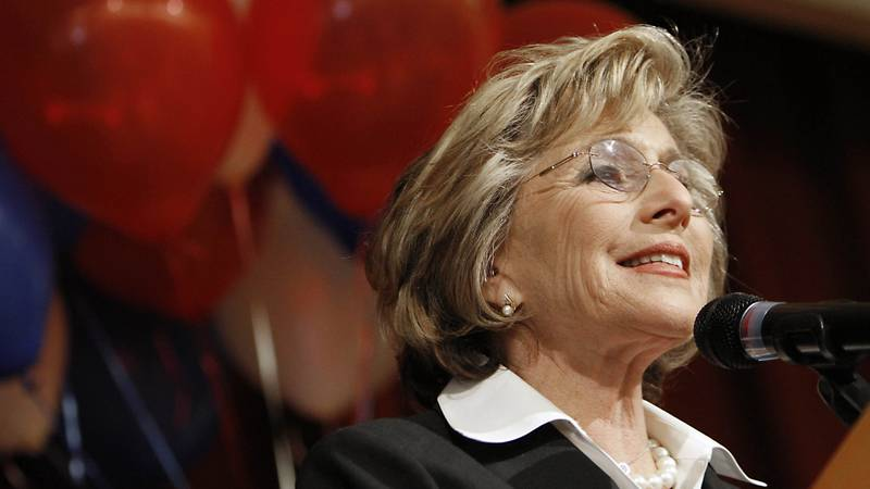 FILE - In this Oct. 13, 2010 file photo, then-U.S. Sen. Barbara Boxer, D-Calif., addresses a...