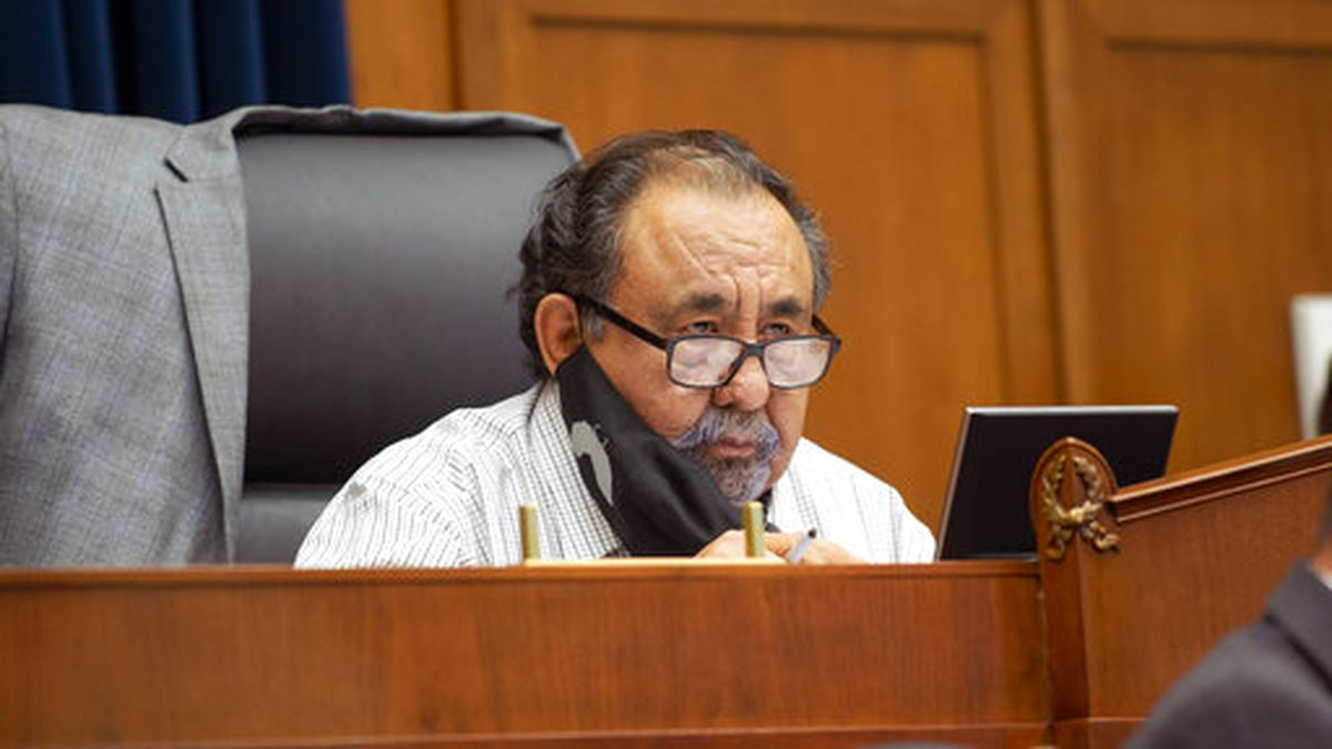Committee Chairman Rep. Raul Grijalva, D-Ariz., speaks Monday, June 29, 2020, on Capitol Hill...