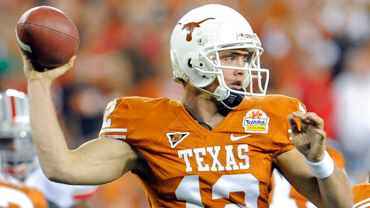 Texas quarterback Colt McCoy throws against Ohio State during the first quarter of the Fiesta...