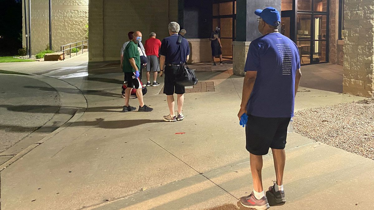 A short line formed before dawn Monday at the Waco Family YMCA at 6800 Harvey Dr., in Waco. (Photo by Christy Soto)