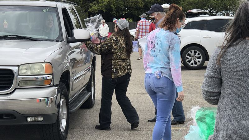 The Temple Elks Lodge in partnership with other organizations, held a drive-thru Easter...