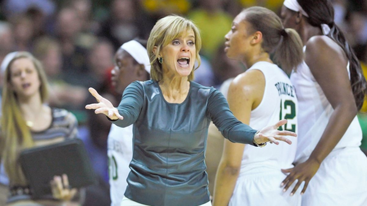 Lady Bears head coach Kim Mulkey has tested positive for COVID-19. (Photo by Austin McAfee/file)