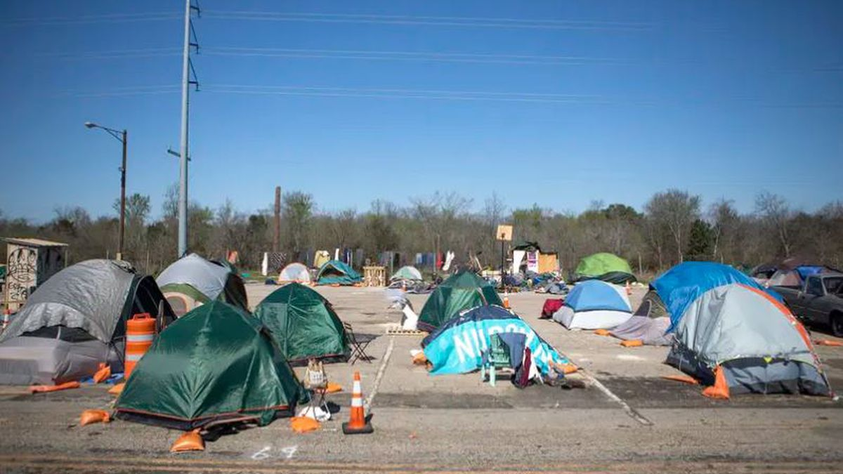 File Photo:  Homeless camp in Austin, Texas
