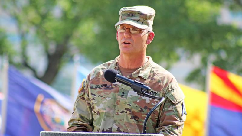 Maj. Gen. Steven Gilland, III Corps deputy commander of maneuver, speaks in front of III Corps...
