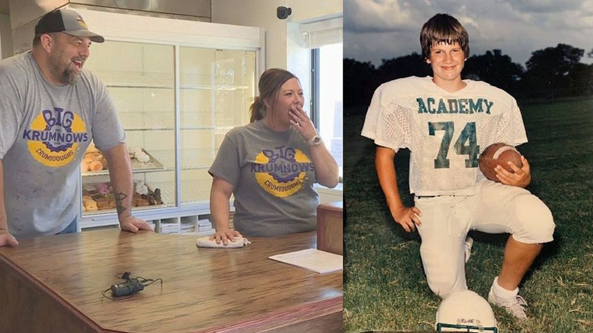 A seventh grade football portrait that a Temple resident found tucked inside a picture frame has been returned to the player pictured in the photograph, who's 24 years older than he was when he posed for the photo. (Courtesy photos)