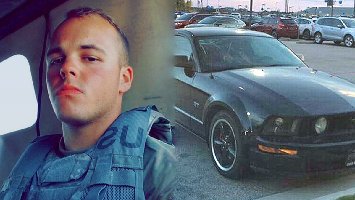 Pvt. Dakota Stump was believed to be driving a black Ford Mustang with a red interior. (Family photos)