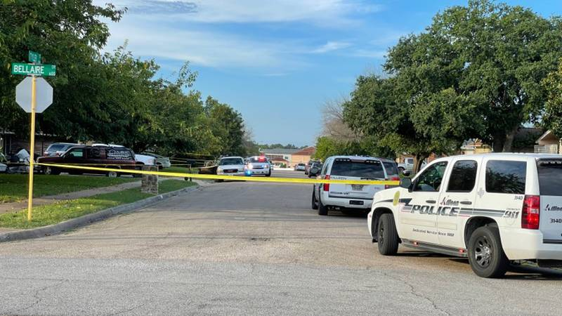 Police tape off the intersection of Bellaire Drive and Tyler Street.