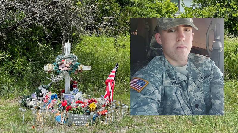 A makeshift memorial still stands in a field in Killeen where police unearthed the remains of...