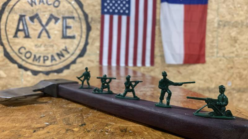 Waco Axe Company has a box of free G.I. Joe figurines for customers to take with them to...
