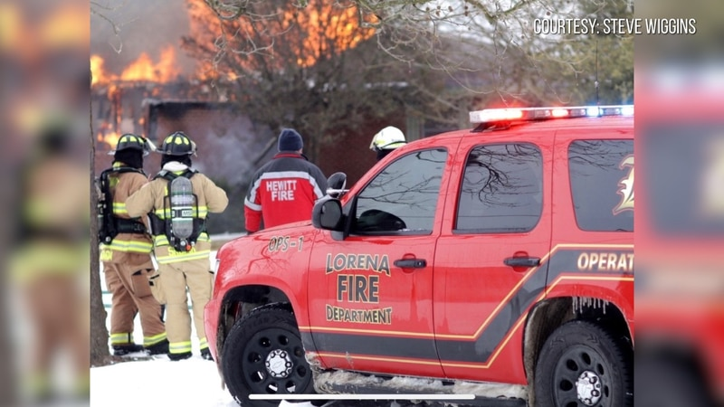 Several fire departments were called to a house fire in Lorena in cold, icy conditions