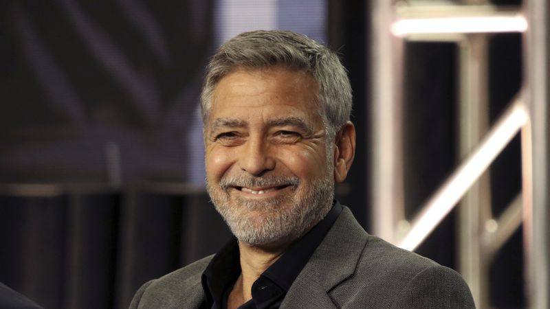"""In this Feb. 11, 2019 file photo, George Clooney participates in the """"Catch-22"""" panel during..."""