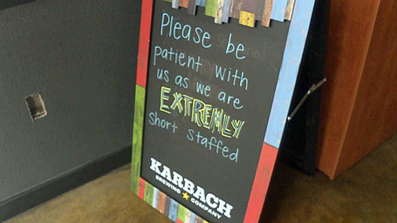 A sign outside a Temple restaurant.  Like many in Central Texas, it is short-staffed and...
