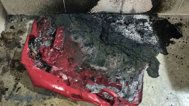 The fire was set in a trash can Wednesday night in the men's restroom in the park at 1605...