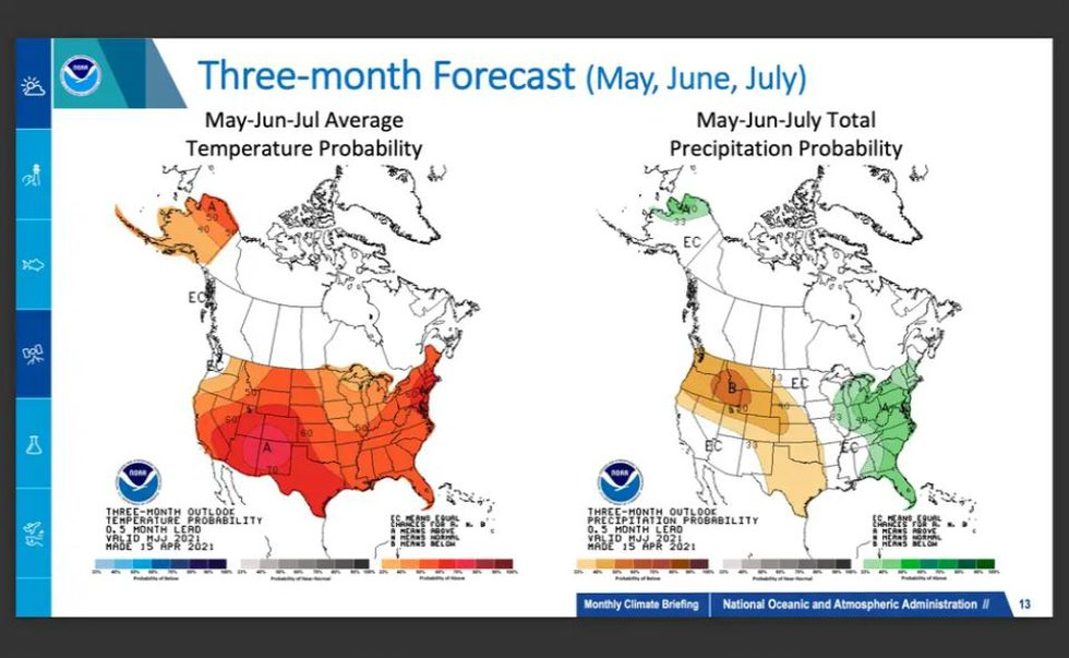 A large area of Texas, and much of the Western U.S., will likely have above average...