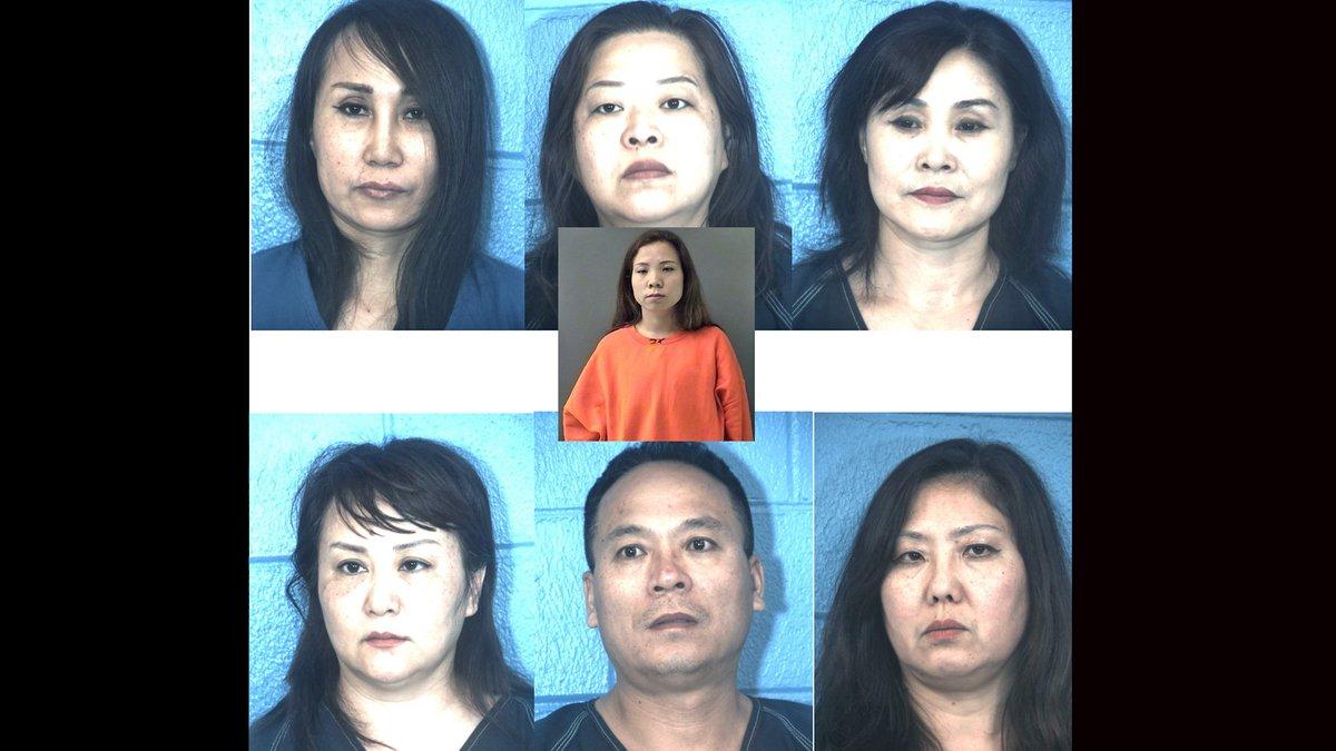 Yajuan Song (center), Yuexia Sun (top left), Xiaolin Yang (top center), Zhihua Cui (top right),...