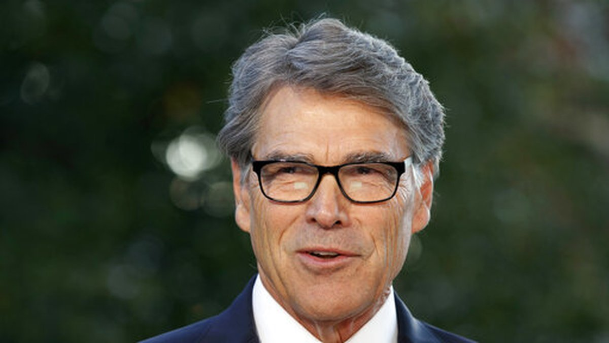 FILE - In this Oct. 23, 2019, file photo, outgoing Energy Secretary Rick Perry is interviewed...