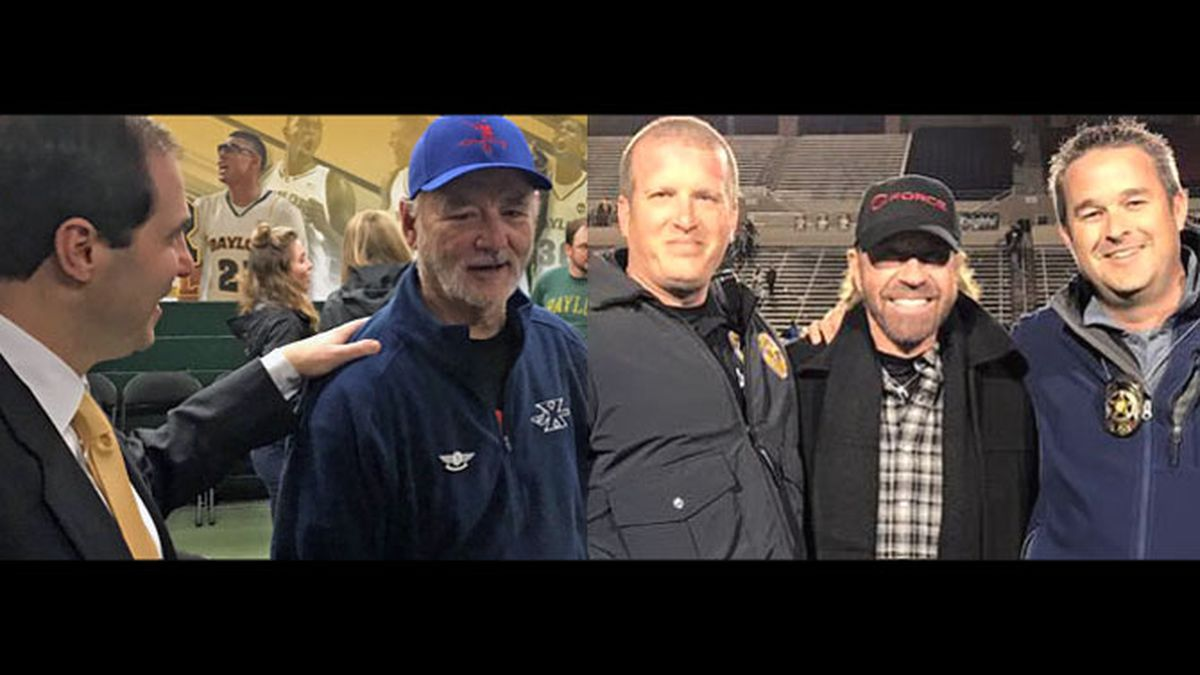 Bill Murray with Baylor coach Scott Drew (left), and Chuck Norris with Hewitt police officers.  (Courtesy photo/Hewitt Police Dept. photo)