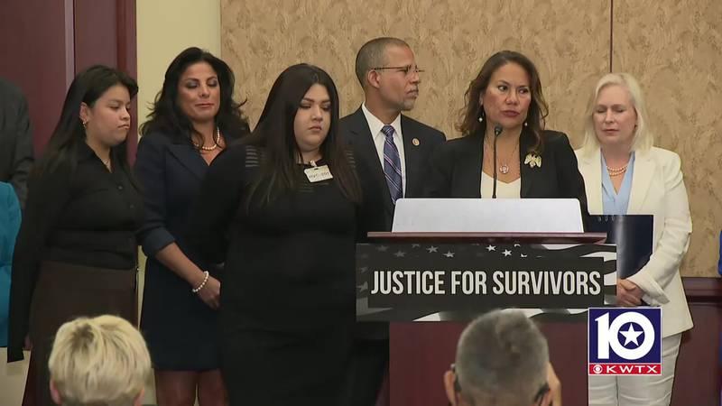 Texas Congresswoman Veronica Escobar speaks during the introduction of the Vanessa Guillen...