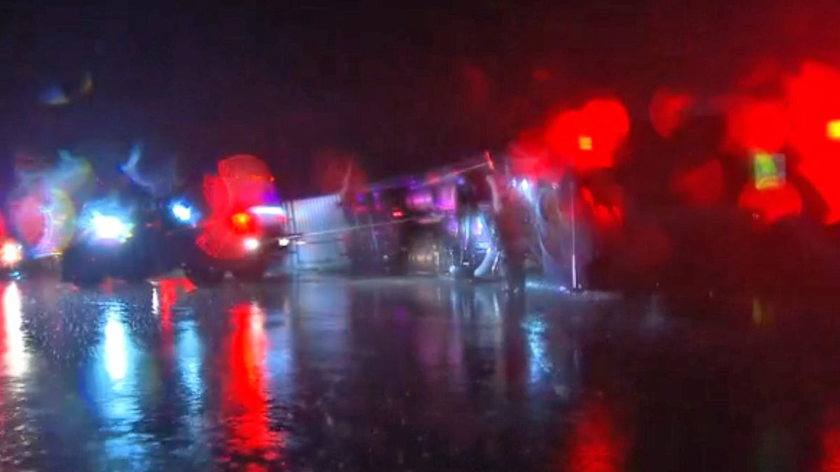 Powerful winds from a possible tornado flipped several 18-wheelers on Interstate 35, sending...