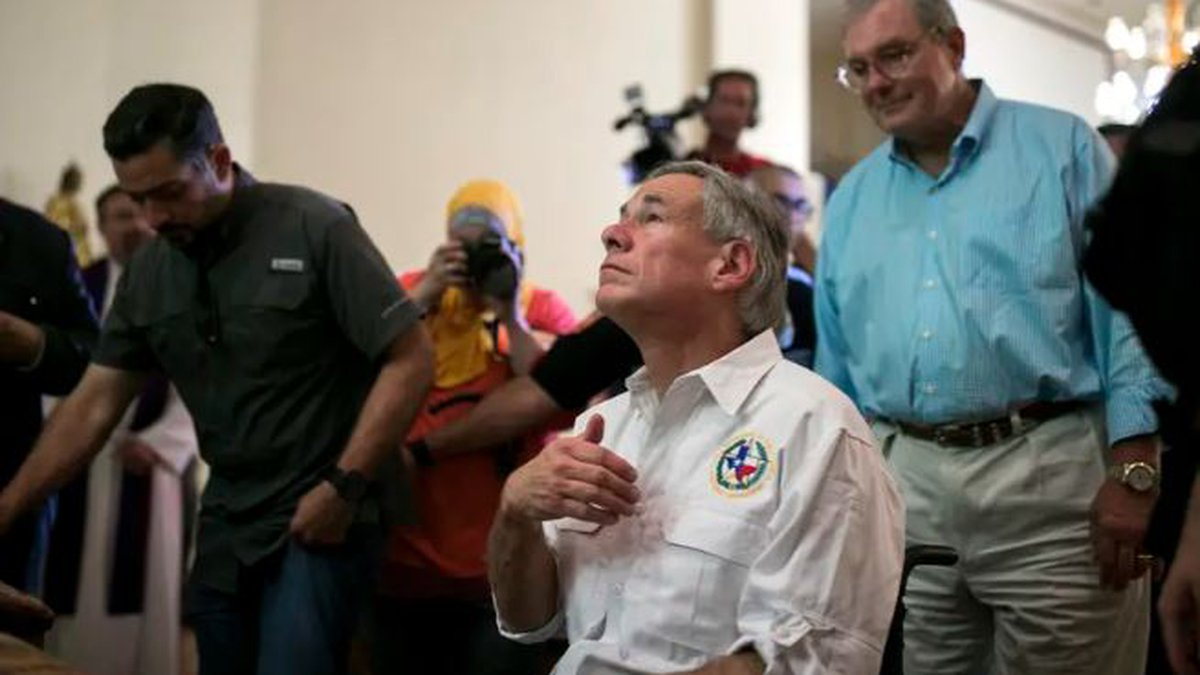 Gov. Greg Abbott prayed at a vigil in the wake of the Walmart massacre in El Paso in August of...