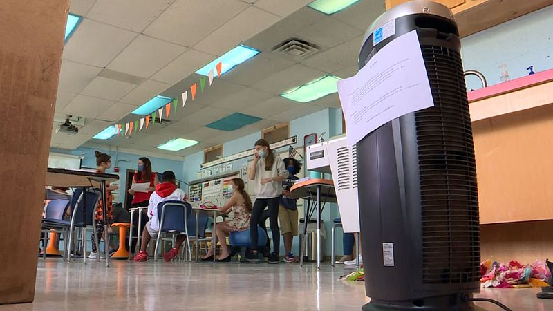 Teachers have been using space heaters to keep students warm when the weather's cool.