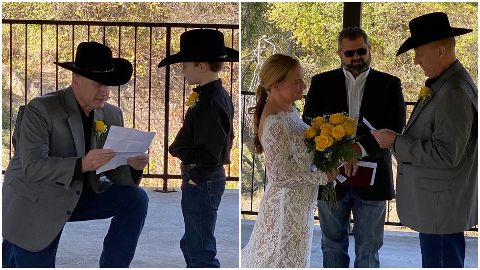 John Hatley gets married to Pamela Miller. John read his vows to his new stepson Lathan.