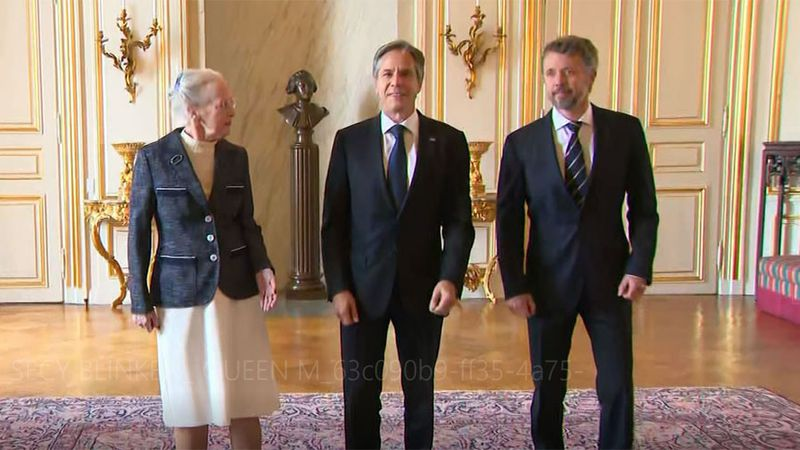 U.S. Secretary of State Antony Blinken, center, meets with Queen Margethe II of Denmark and the...