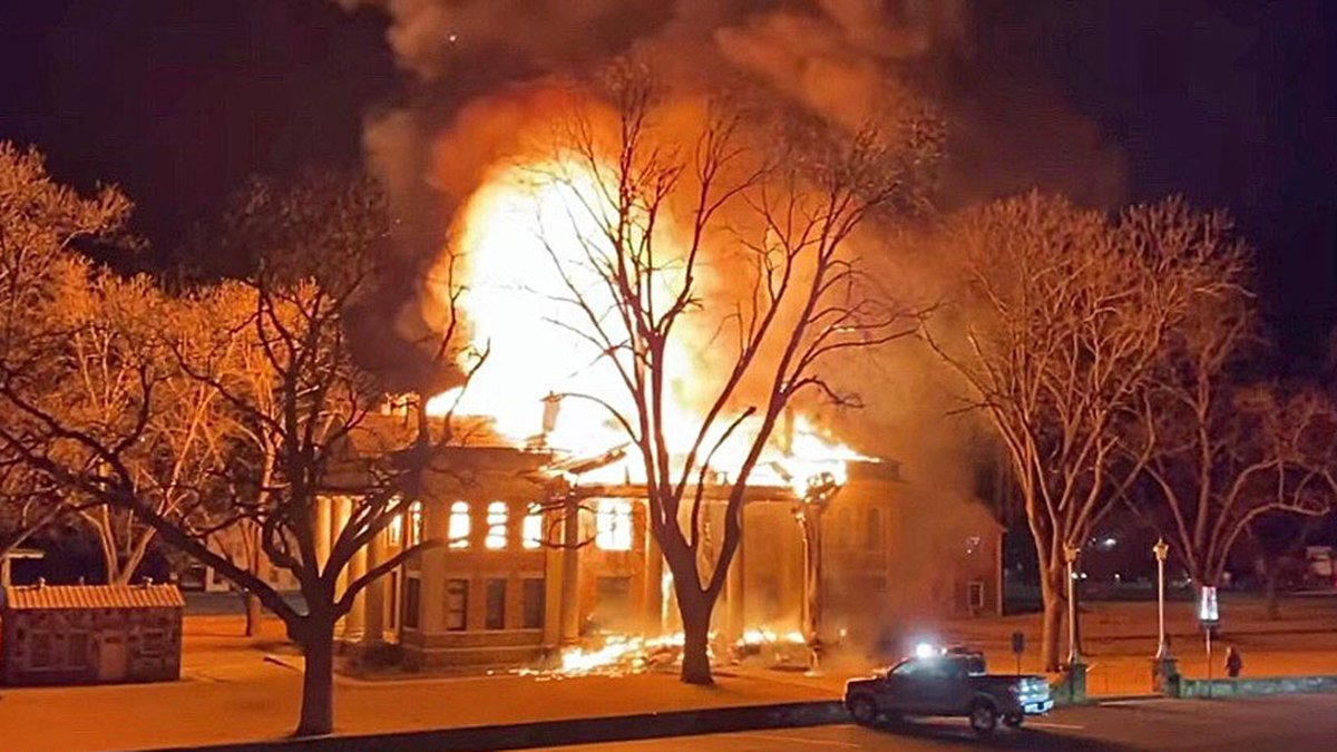 The fire that gutted the more than century-old courthouse was set deliberately, authorities said.
