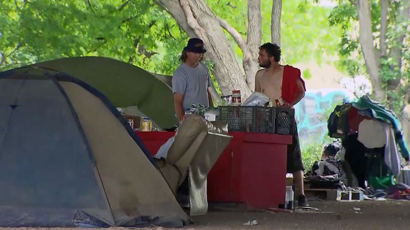 The homeless residents had been living beneath an Interstate 14 bridge.