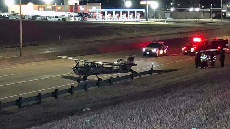 The pilot of a small plane had to make an emergency landing Tuesday night on Interstate 35.
