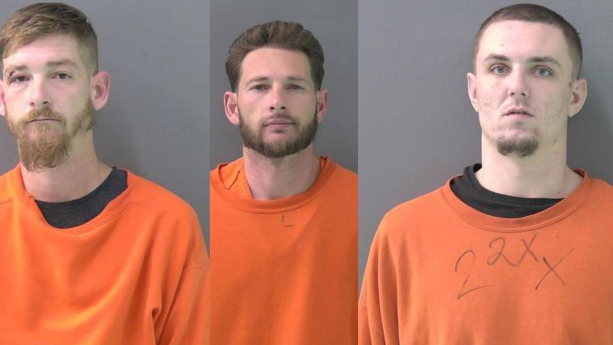 Robert Ferguson (left),  Eric Goertz (center), both of Nolanville, and Charles Ferguson (right) remained in the Bell County Jail Friday in lieu of $200,000 bonds charged with aggravated assault with a weapon. (Jail photos)