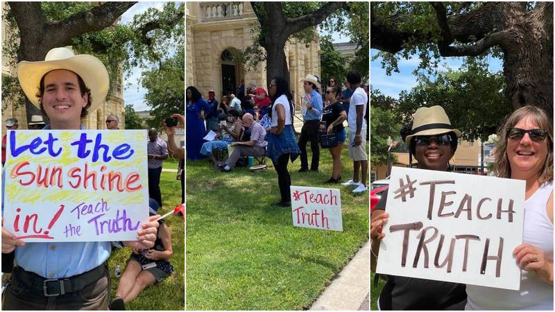 Educators and community leaders gathered outside the Bell County Courthouse Saturday to protest...