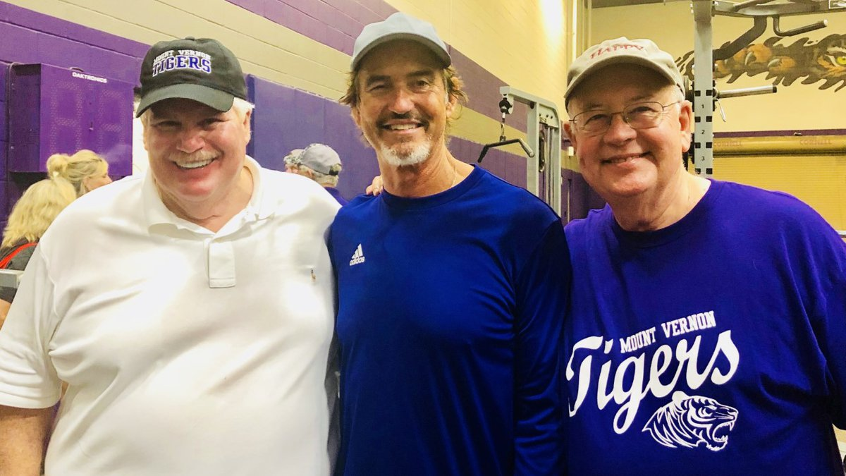 John Eddie Williams (left) Art Briles (center) Ken Starr (right) after Briles made his debut as...