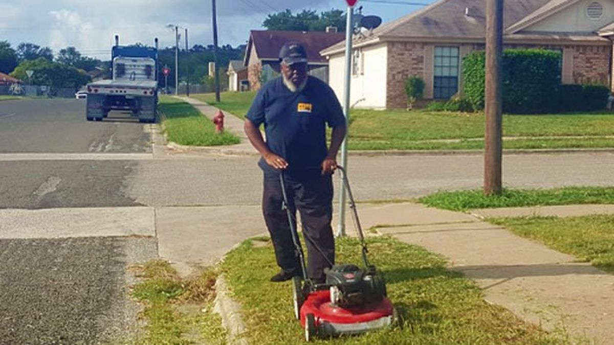 Veteran Copperas Cove school bus driver Jerry Martin, Jr., doesn't wait for homeowners to trim tall grass and prickly weeds at the corners where he picks up and drops off his young passengers. (Copperas Cove ISD photo)