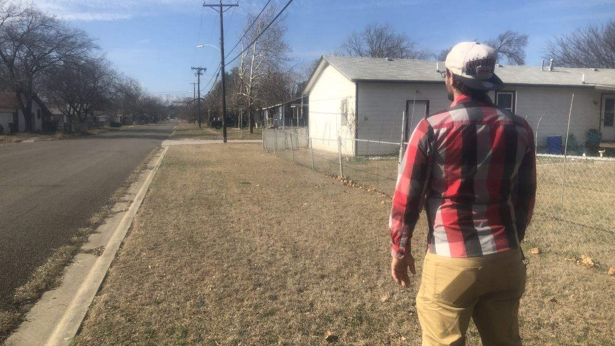 Joshua Weir looking back where the hit & run occurred. (Photo by Alex Gibbs)