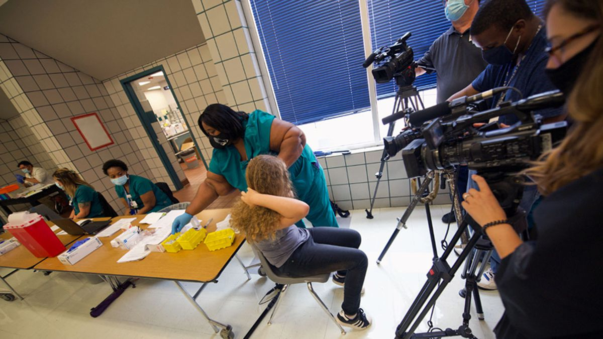 Nearly 300 Killeen ISD students received a first dose of COVID-19 vaccine on the first day of a...