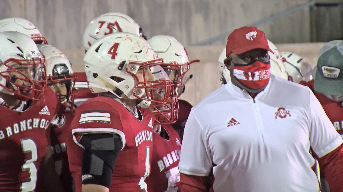 Odessa Head Coach Danny Servance and his players before the game against Abilene