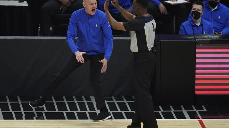 Dallas Mavericks head coach Rick Carlisle disputes a call during the first quarter of Game 7 of...