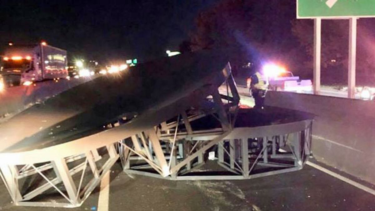 Northbound traffic was backed up Tuesday evening on Interstate 35 in Waco after a truck hauling large metal structures lost its load. (Waco Police Dept. photo)