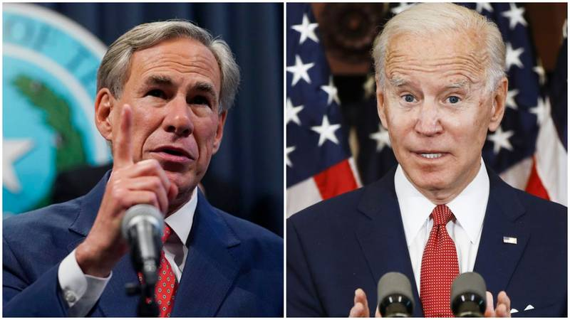 Texas Governor Greg Abbott and President Joe Biden
