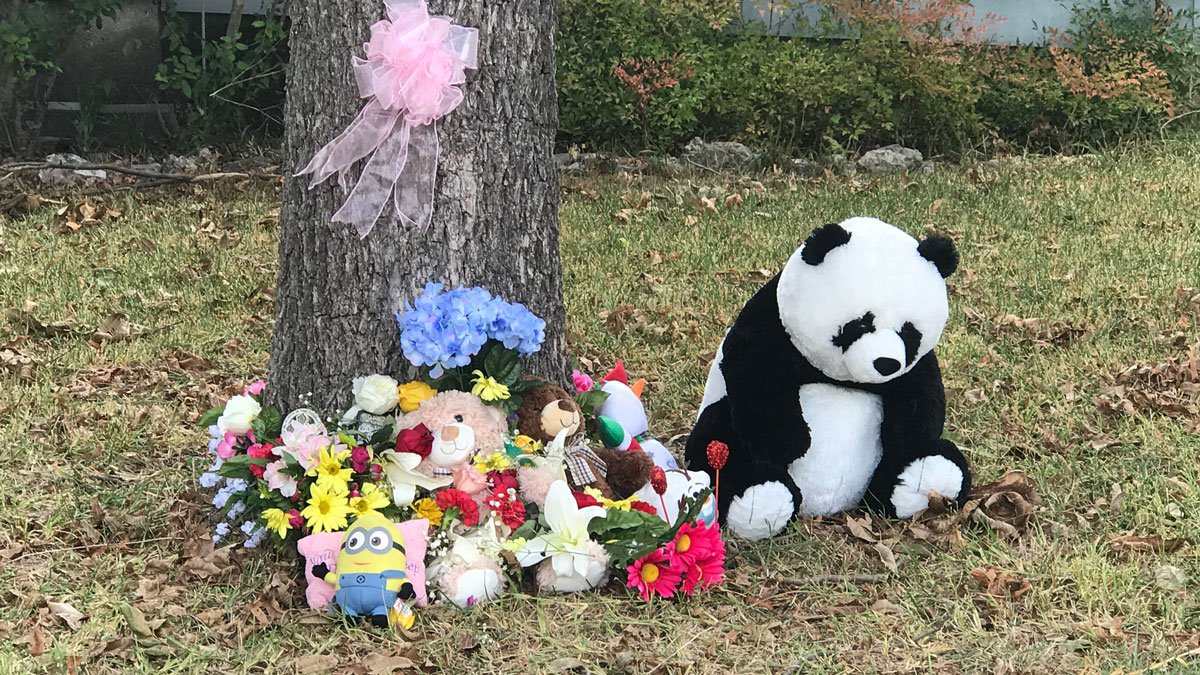 Area residents have created a makeshift memorial of stuffed animals and flowers outside the...