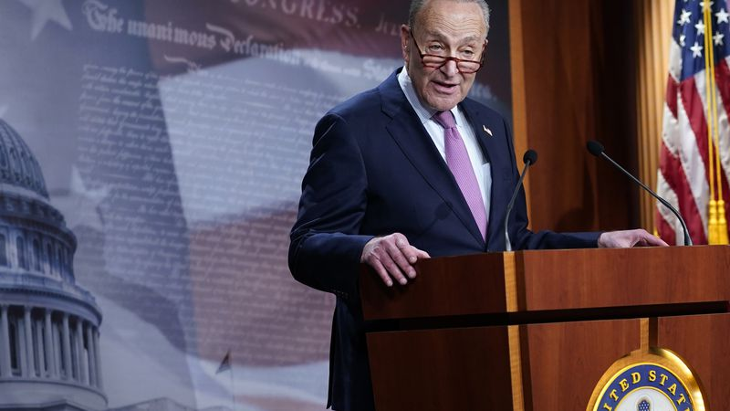 Senate Minority Leader Sen. Chuck Schumer of N.Y., speaks on Capitol Hill in Washington,...