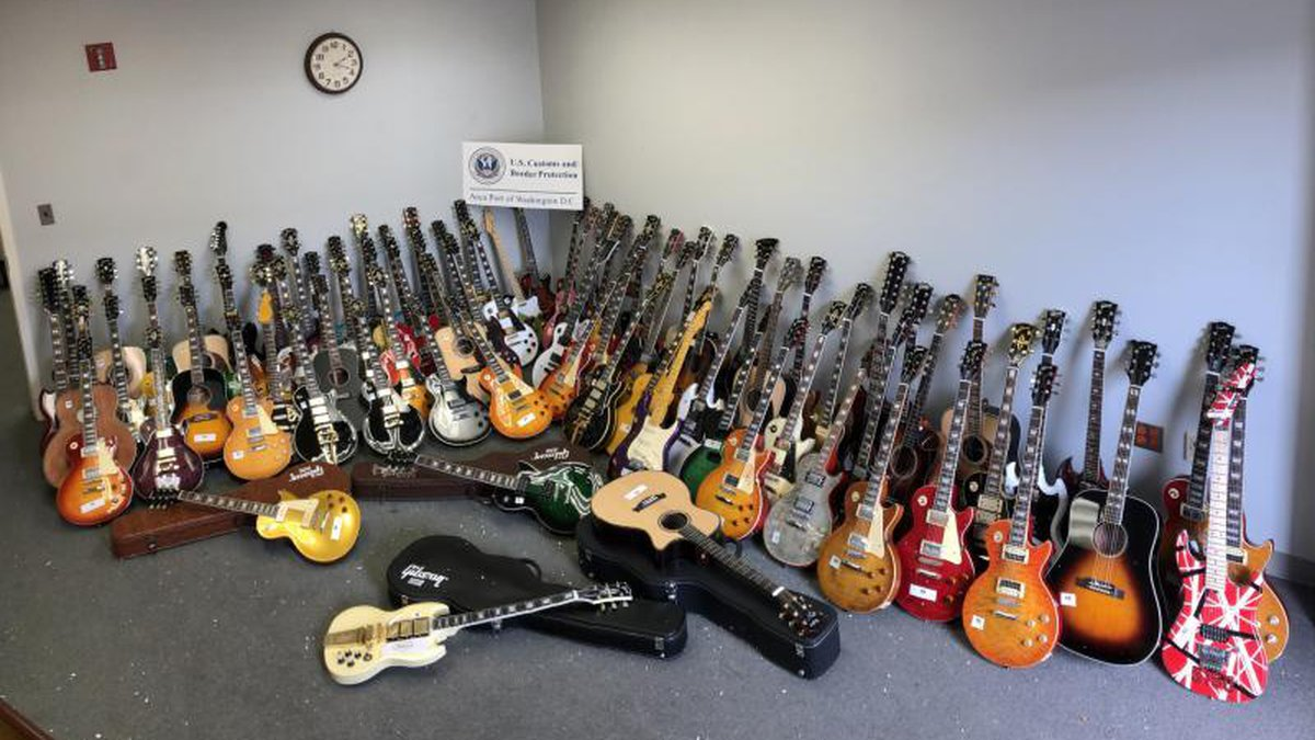 Dozens of counterfeit guitars seized by CBP Officers in Virginia
