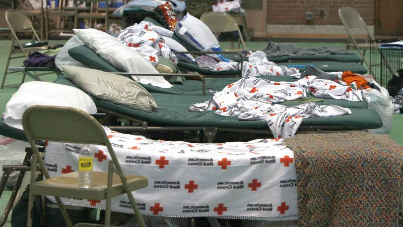 Beds are lined up at a Red Cross shelter on Thursday, June 9, 2011 in Barre, Vt. With record...