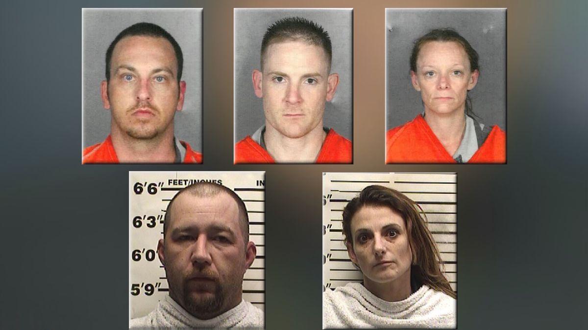 (Top) Lucas James, William James, Rosa Lee Clark.  (Bottom) Trent Freeman, Kandace Benningfield.  (Jail photos)
