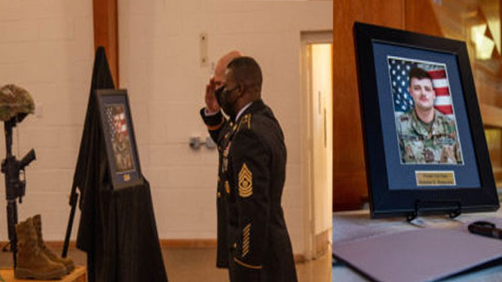 A memorial service was held for the slain soldier Thursday on post.