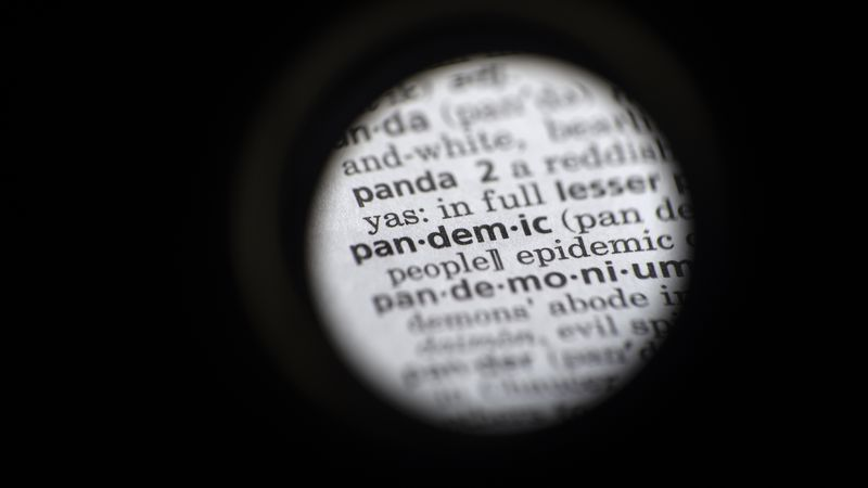 """In this Saturday, Nov. 21, 2020 photo taken through a camera lens, the word """"pandemic"""" is seen..."""