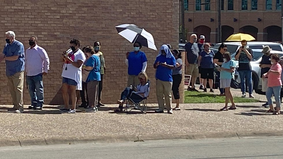 Residents lined up to vote Tuesday in Temple.